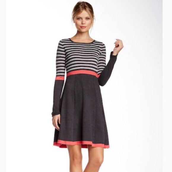 Eliza J Fit and Flare Striped Sweater Dress Sm